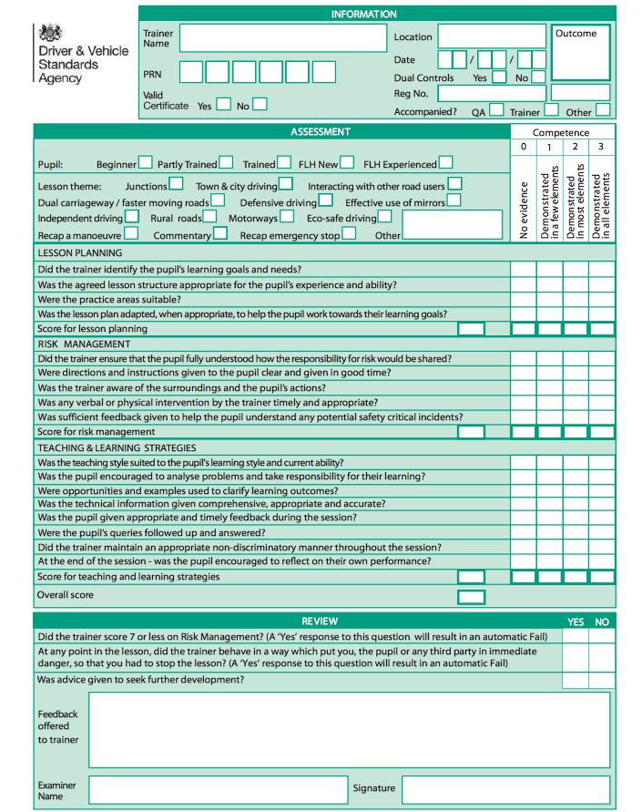 New-Standards-Check-Test-Form